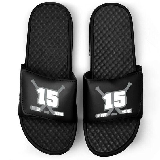 Hockey Black Slide Sandals - Hockey Crossed Sticks with Number