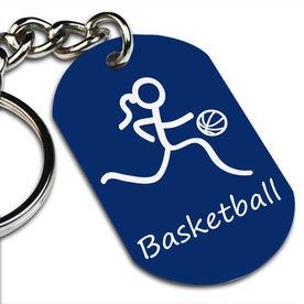 Basketball Girl (Stick Figure) Printed Dog Tag Keychain