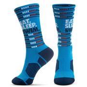 Swimming Woven Mid-Calf Socks - Eat. Sleep. Swim.