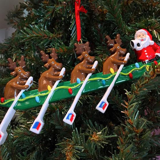 Rowing Reindeer Resin Ornament