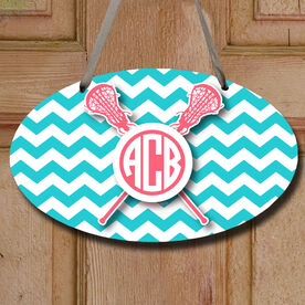Monogrammed Chevron Pattern with Crossed Sticks Decorative Oval Sign
