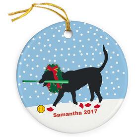 Softball Porcelain Ornament Mitts The Softball Dog with Christmas