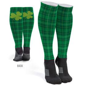Printed Knee-High Socks - St. Patrick's Day Plaid