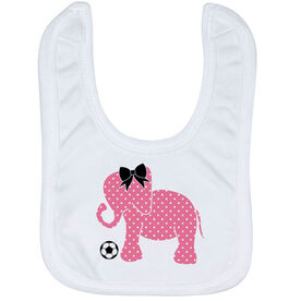 Soccer Baby Bib - Soccer Elephant with Bow