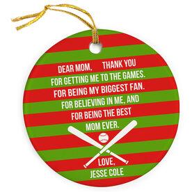 Baseball Porcelain Ornament - Dear Mom Heart