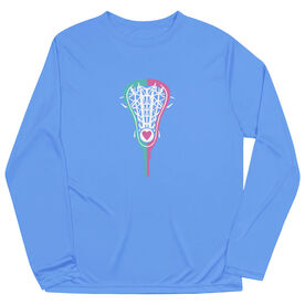Girls Lacrosse Long Sleeve Performance Tee - Lacrosse Stick Heart