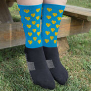 Softball Printed Mid-Calf Socks - Softball Hearts