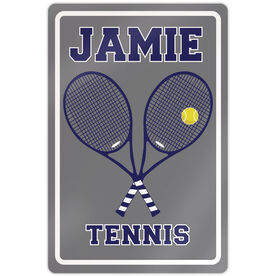 "Tennis Aluminum Room Sign Personalized Tennis Rackets (18"" X 12"")"