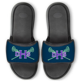 Girls Lacrosse Repwell® Slide Sandals - Monogram with Lax Sticks