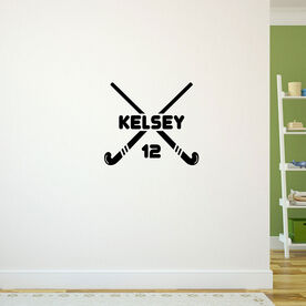 Personalized Crossed Field Hockey Sticks Removable ChalkTalkGraphix Wall Decal