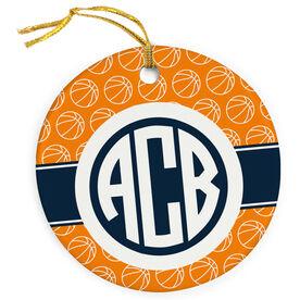 Basketball Porcelain Ornament Monogram with Basketball Pattern
