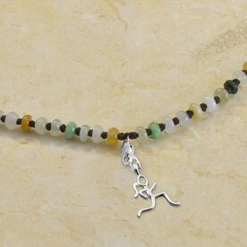 Sterling Silver Mini Stick Figure Charm on Artisan Jade Knotted Necklace