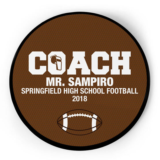 Football Circle Plaque - Coach With 3 Lines