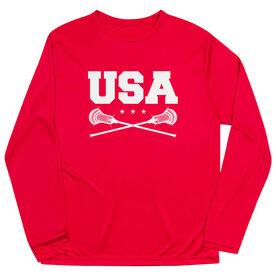Guys Lacrosse Long Sleeve Performance Tee - USA Lacrosse