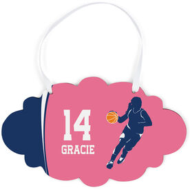 Basketball Cloud Sign - Personalized Basketball Girl with Big Number