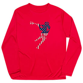 Guys Lacrosse Long Sleeve Performance Tee - American Flag Silhouette