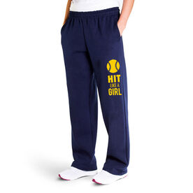 Softball Fleece Sweatpants - Hit Like A Girl (Yellow)