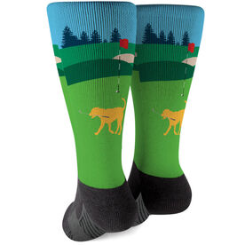 Golf Printed Mid-Calf Socks - Ace The Golf Dog