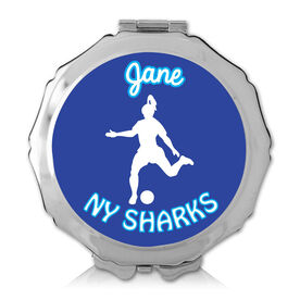 Personalized Soccer Girl Color Compact Mirror