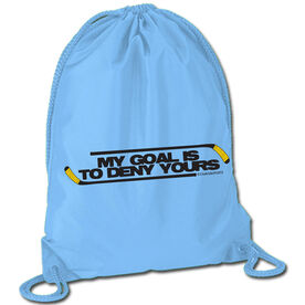 Hockey Sport Pack Cinch Sack (Black/Yellow) My Goal Is To Deny Yours