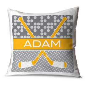 Hockey Throw Pillow Personalized 2 Tier Patterns With Crossed Sticks