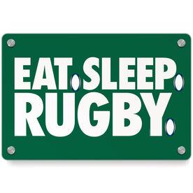Rugby Metal Wall Art Panel - Eat Sleep Rugby