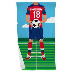 Soccer Beach Towel - Male Soccer Player