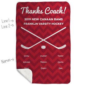 Hockey Sherpa Fleece Blanket - Personalized Thanks Coach Chevron