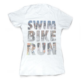 Vintage Triathlon T-Shirt - Swim Bike Run Photo Words