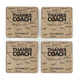 Basketball Stone Coasters Set of Four - Coach (Autograph)