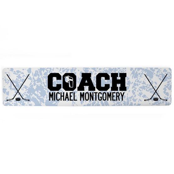 """Hockey Aluminum Room Sign - Coach Hockey (4""""x18"""")"""