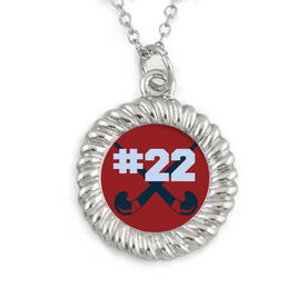 Braided Circle Necklace Field Hockey Crossed Sticks Your Number