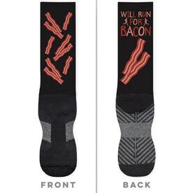 Running Printed Mid-Calf Socks - Will Run For Bacon