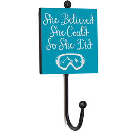 Skiing and Snowboarding Medal Hook - She Believed She Could So She Did