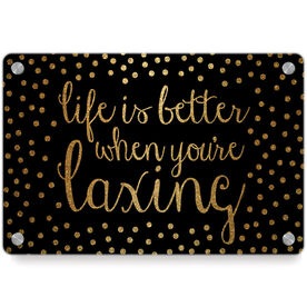 Girls Lacrosse Metal Wall Art Panel - Life Is Better