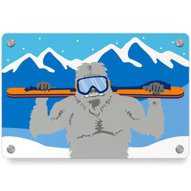 Skiing Metal Wall Art Panel - Yeti