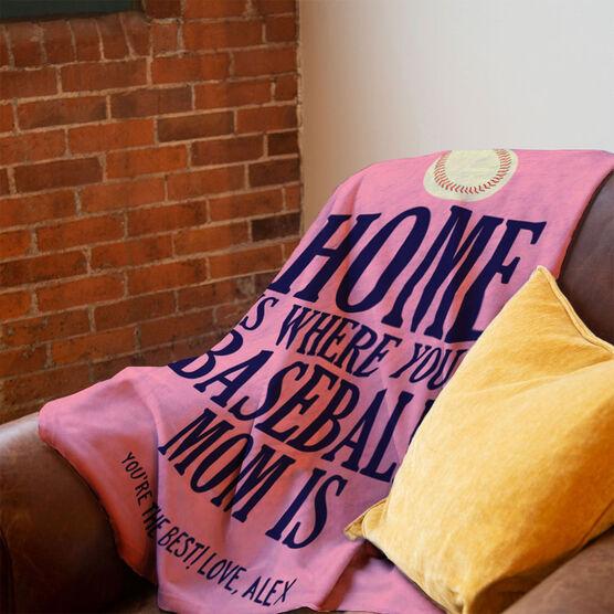 Baseball Premium Blanket - Home Is Where Your Baseball Mom Is