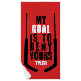 Hockey Premium Beach Towel - My Goal is To Deny Yours (Goalie)
