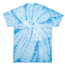 Guys Lacrosse Short Sleeve T-Shirt - Lacrosse Skeleton (White) Tie Dye