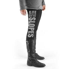 Skiing & Snowboarding High Print Leggings - Life Is Better On The Slopes