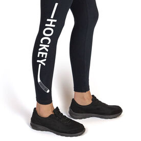 Hockey Leggings - Hockey Stick Word