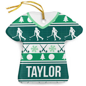 Field Hockey Porcelain Ornament Ugly Sweater