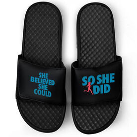 Running Black Slide Sandals - She Believed She Could So She Did Text