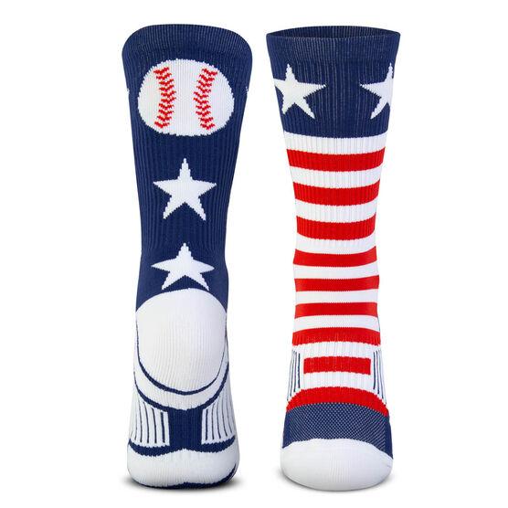 Baseball Woven Mid-Calf Socks - Patriotic