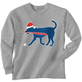 Softball T-Shirt Long Sleeve Play Ball Christmas Dog