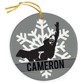 Snowboarding Porcelain Ornament Snowflake Snowboarder