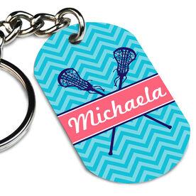 Girls Lacrosse Printed Dog Tag Keychain Girls Lacrosse Sticks Chevron