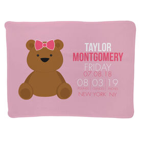 Personalized Baby Blanket - Birth Announcement Baby Bear Girl