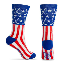 Hockey Woven Mid Calf Socks - Patriotic (Red/White/Blue)