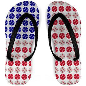 Baseball Flip Flops American Flag